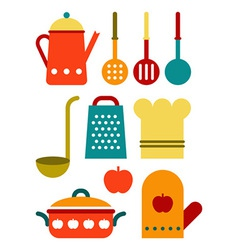 Colorful kitchen utensil set vector image