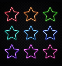 colorful neon star set on transparent background vector image