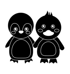 cute animals penguin and duck holding hands vector image