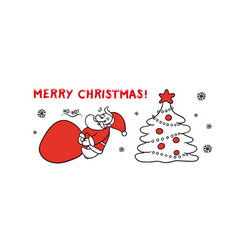 cute sketch santa claus drags vector image