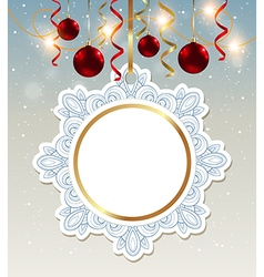 Decorative Christmas banner with shining garland vector image
