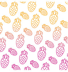 Degraded line delicious strawberry fresh fruit vector