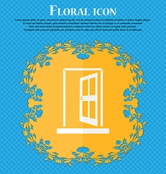Door Enter or exit icon sign Floral flat design on vector image