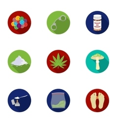 Drugs set icons in flat style Big collection of vector