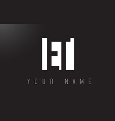 Et letter logo with black and white negative vector