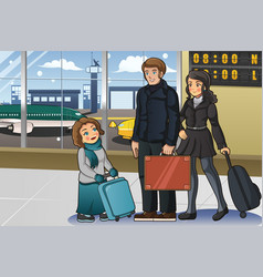 family going to vacation vector image
