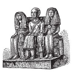 Family sculpture of an of egyptian vintage vector