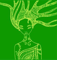 Fantasy silhouette woman fairy vector