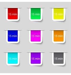 Fifteen minutes sign icon Set of colored buttons vector