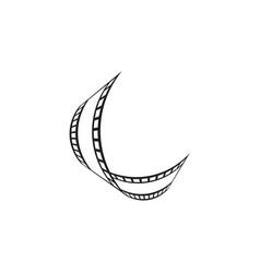 filmstrip reel logo icon template vector image