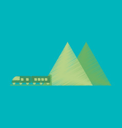 Flat icon in shading style mountain train vector