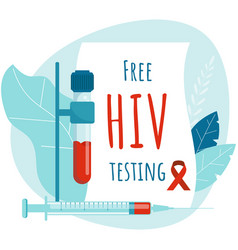 Free hiv testing aids poster design hiv test vector