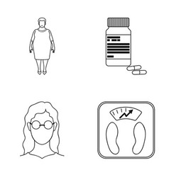 Full woman a girl with glasses a scales with vector