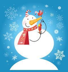 Funny snowman with a bird vector