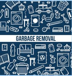 garbage removal seamless outline pattern broken vector image
