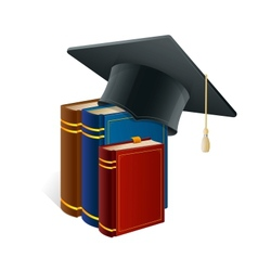 Graduation cap with books isolated on white vector