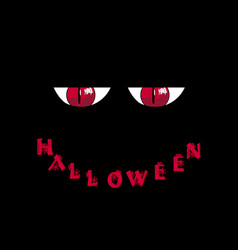 halloween card red predatory monster eyes and vector image