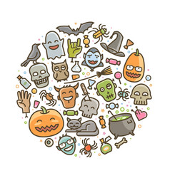 halloween icons holiday symbol cartoon vector image