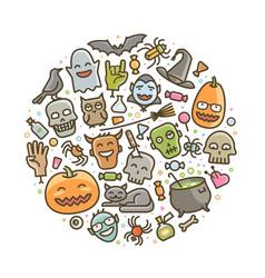 halloween of icons holiday symbol cartoon vector image