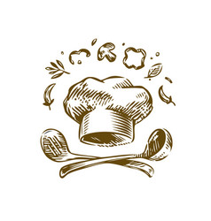 Hand-drawn logo cooking vintage vector