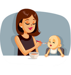 happy mother feeding her basolid food with a vector image