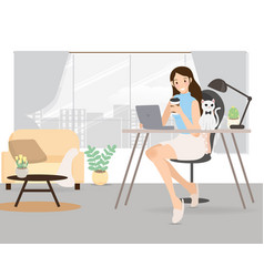 happy young woman working from home with pet cat vector image