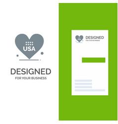 heart love american usa grey logo design and vector image