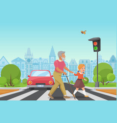helping senior old man little girl kid helps an vector image