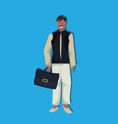 indian businessman holding suitcase national vector image
