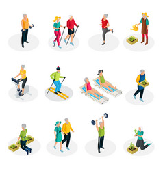 Isometric pensioner life collection vector