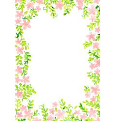 ivy pink flower frame for decoration vector image