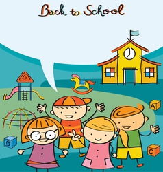 Kids Characters back to School with Text Balloon vector image