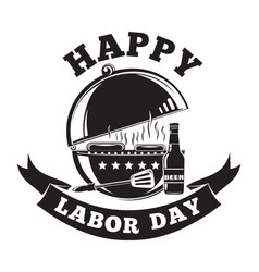 Labor day logo design with grill barbecue bbq vector