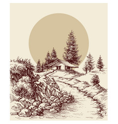 Landscape hand drawing sun rise in the background vector