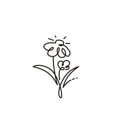 Line icon two flowers gardening vector