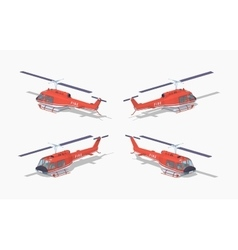 Low poly fire helicopter vector image
