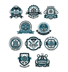 Marine and nautical heraldic emblems or icons vector image