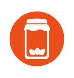 mason jar with strawberry isolated icon vector image