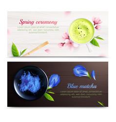 matcha tea horizontal banners vector image