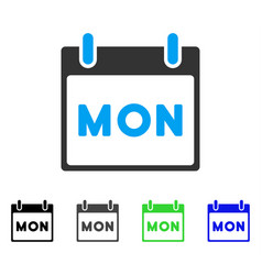 Monday calendar page flat icon vector