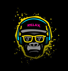 monkey with glasses and headphones vector image