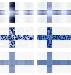 Mosaic Finland flag set vector