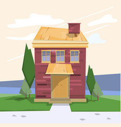 Old wooden house on a natural background and the vector