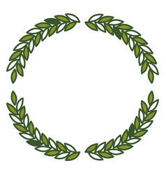 Olive branches forming circle in green color vector