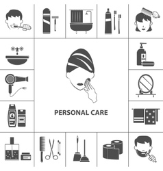 Personal care products icons composition poster vector