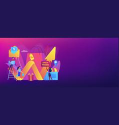 Promotional mix concept banner header vector