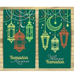 Ramadan Kareem Islamic background Lamps for vector image