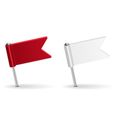Red and white pin icon flag vector image