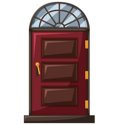 Red door with wooden frame vector