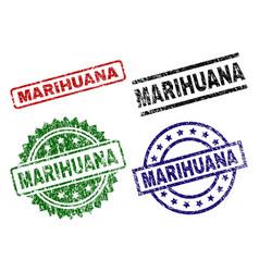 Scratched textured marihuana stamp seals vector